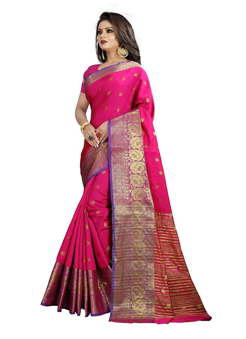 Pink Color Weaving Cotton Silk Saree With Blouse