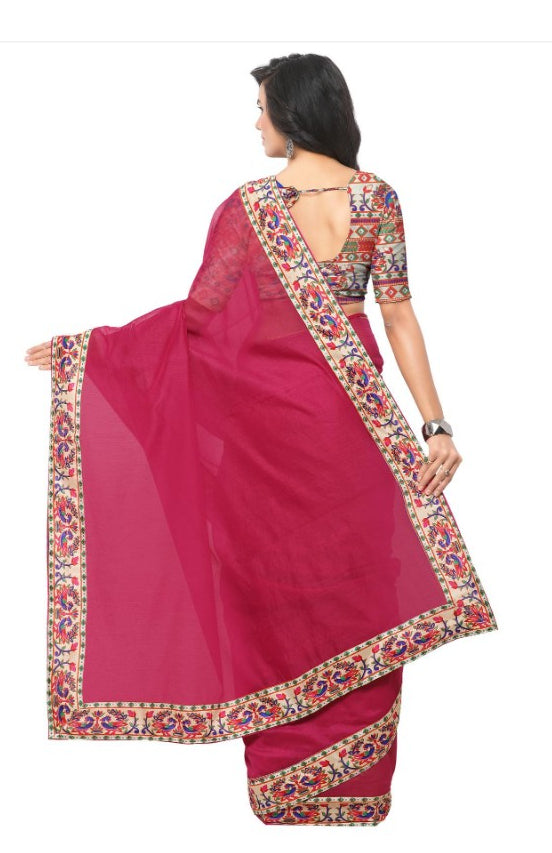 Pink Color Printed Chanderi Saree With Blouse