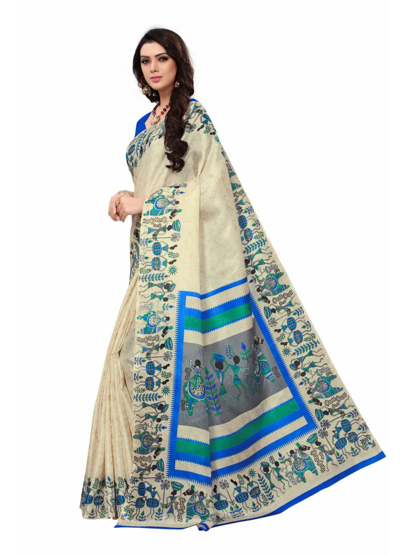 Offwhite and blue Color Printed Khadi Silk Saree With Blouse