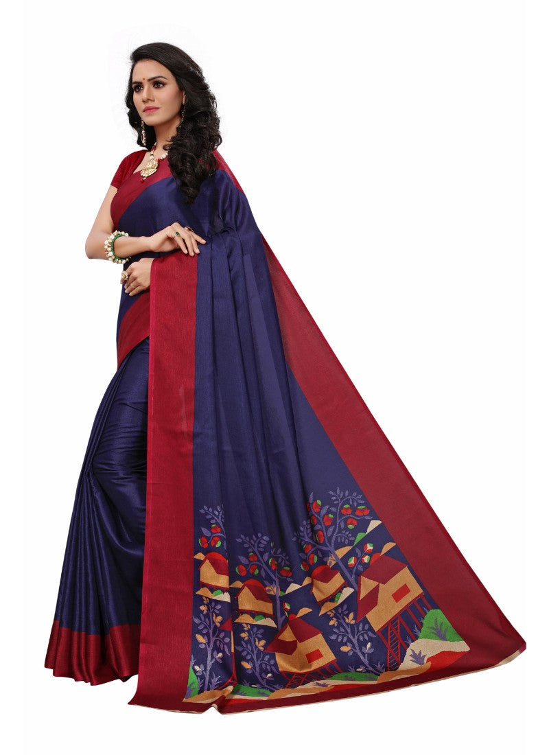 Violet Color Printed Khadi Silk Saree With Blouse
