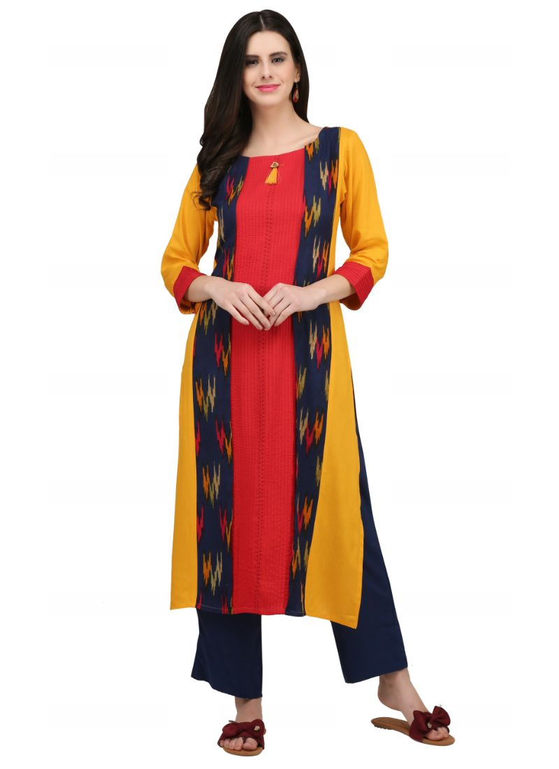 Yellow And Red Color Rayon Kurti