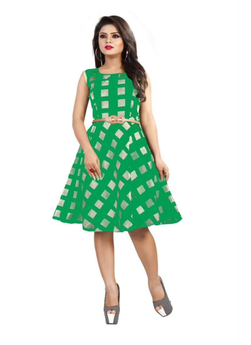 Green Color American Crepe Western Dress