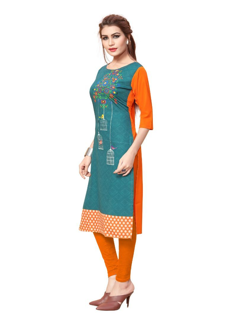 Green And Orange Color Crepe Kurti