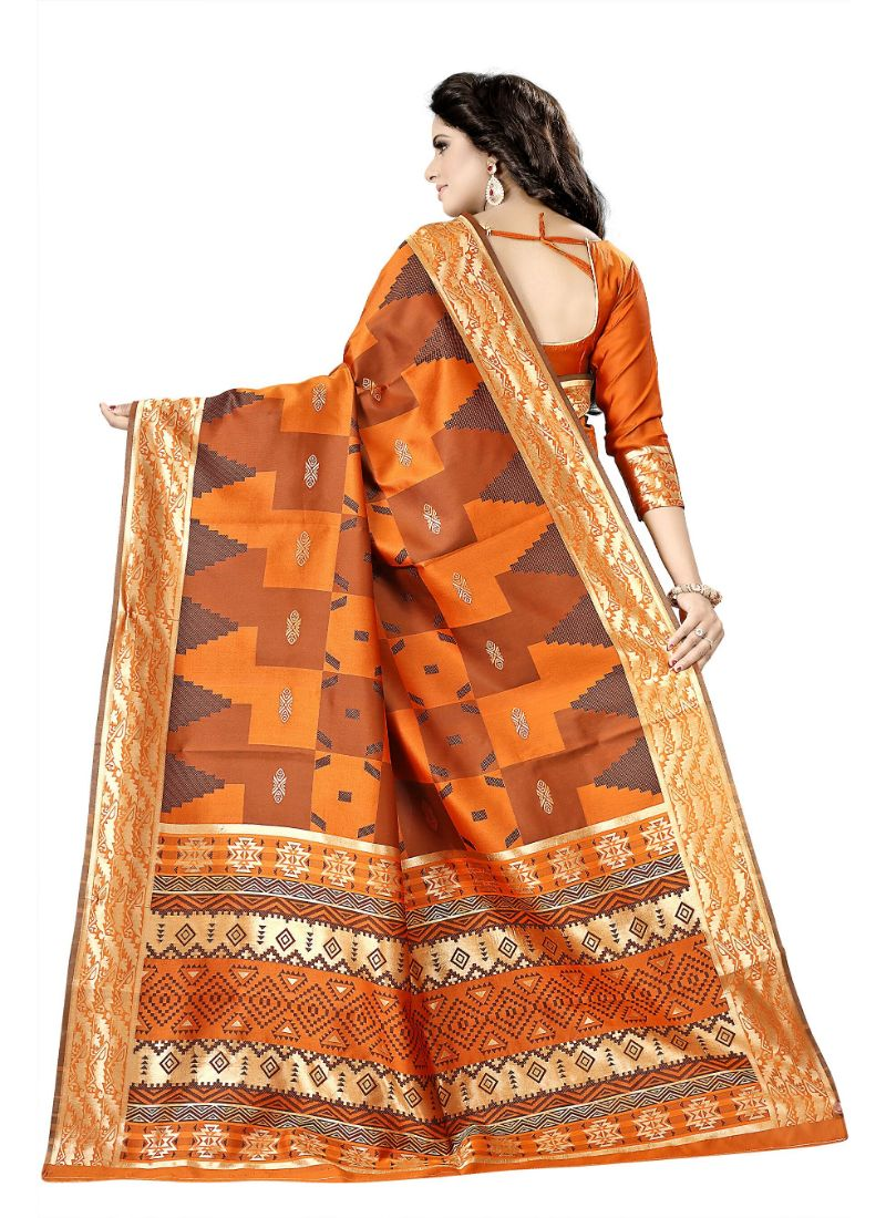 Orange Color Cotton Silk Saree with Blouse