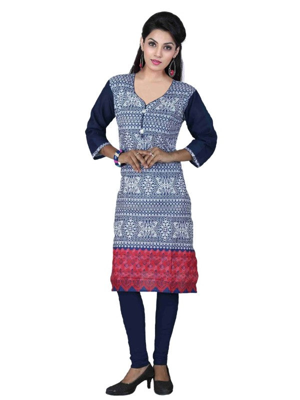 Blue and White Cotton Printed Casual Kurti