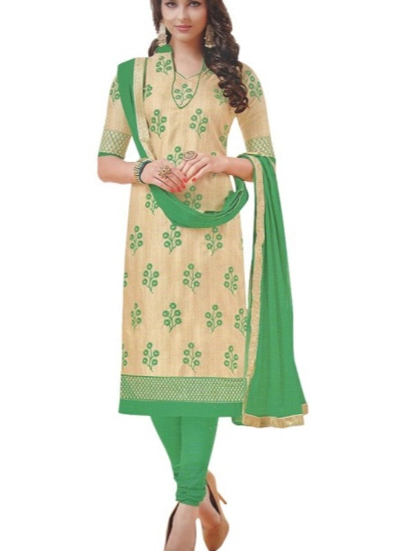 Offwhite Embroidered Bhagalpuri Unstitched Silk Dress Material For Women