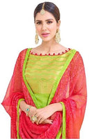 Green And Pink Salwar Material