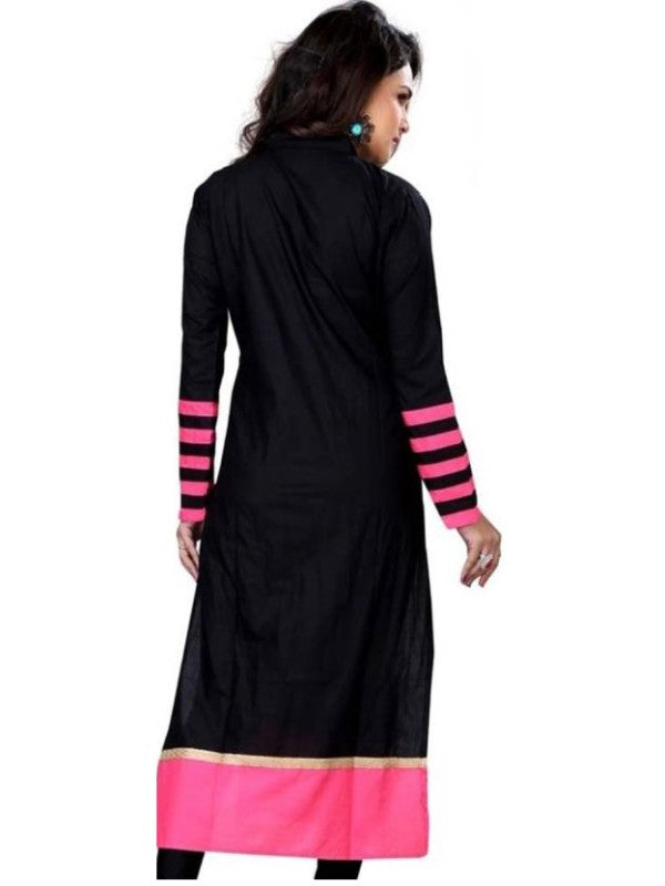 Women's  Self Design Black Long Kurta