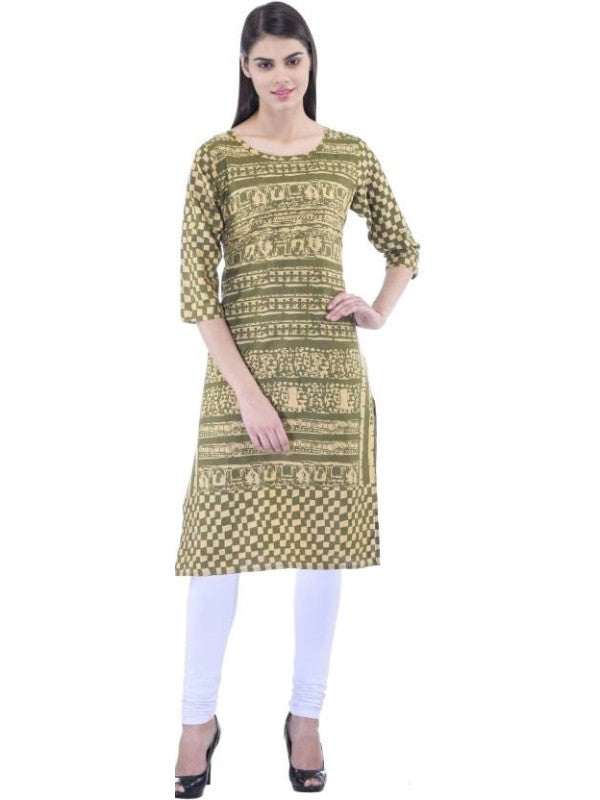 Women's  Self Design Lime Green Straight Kurti With 3/4th Sleeves