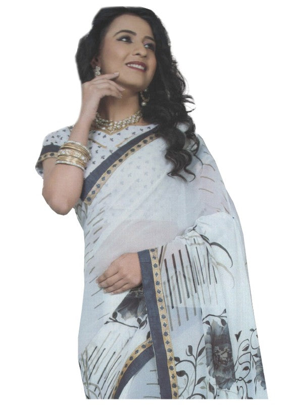 Chiffon Digital Color Printed Saree-White
