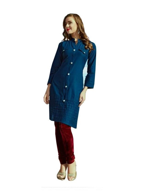 Straight Cut Kurti With Button Placket