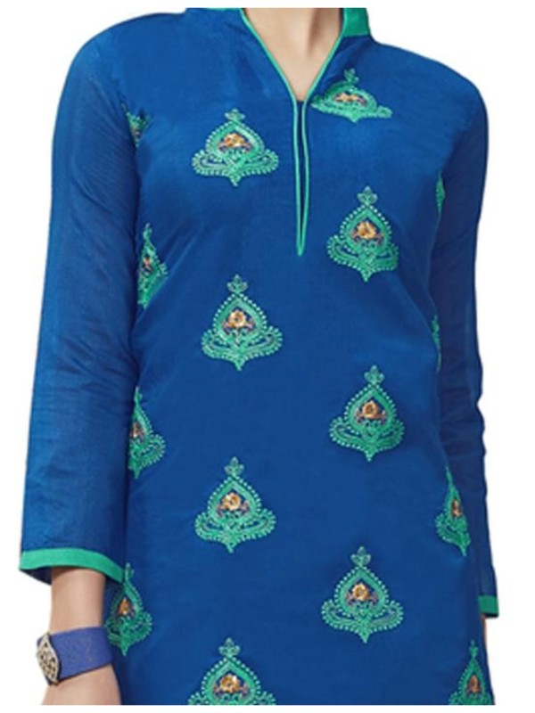 Chanderi Straight Embroidery Unstitched Suit Blue