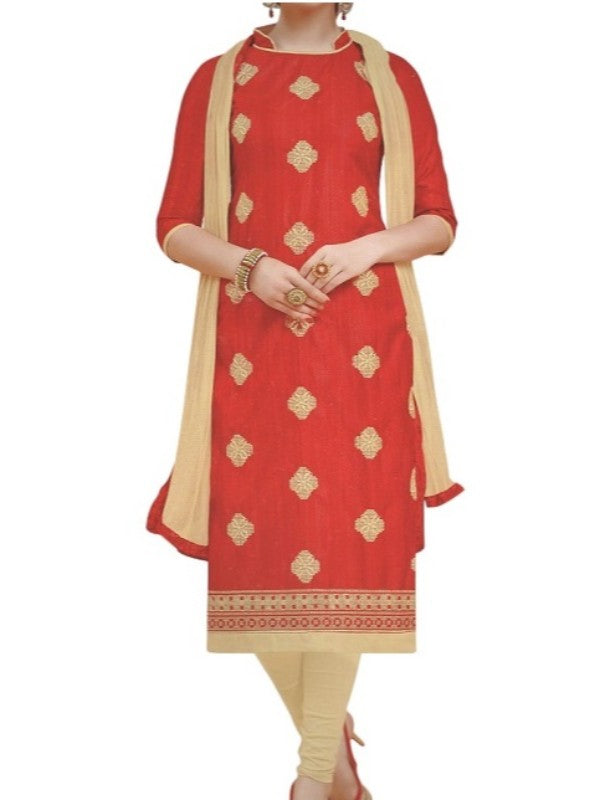 Red Embroidered Bhagalpuri Silk Unstitched Dress Material For Women