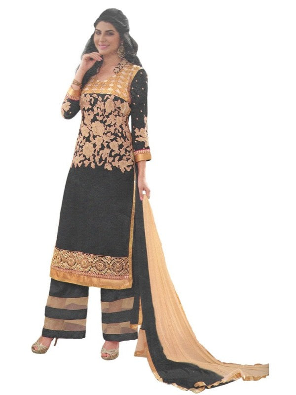 Black Georgette Salwar Suit Material For Women-Unstitched