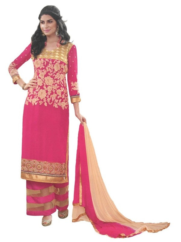 Pink Georgette Salwar Suit Material For Women-Unstitched