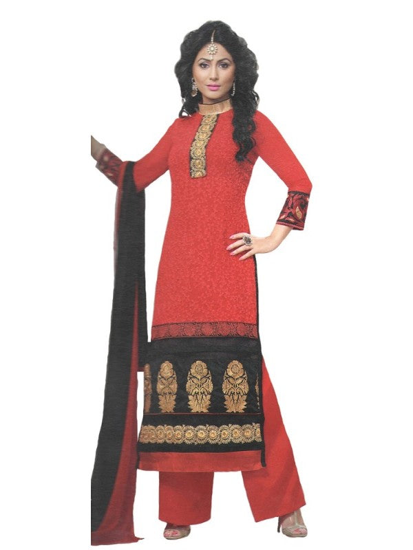 Red Georgette Unstitched Dress Material For Women