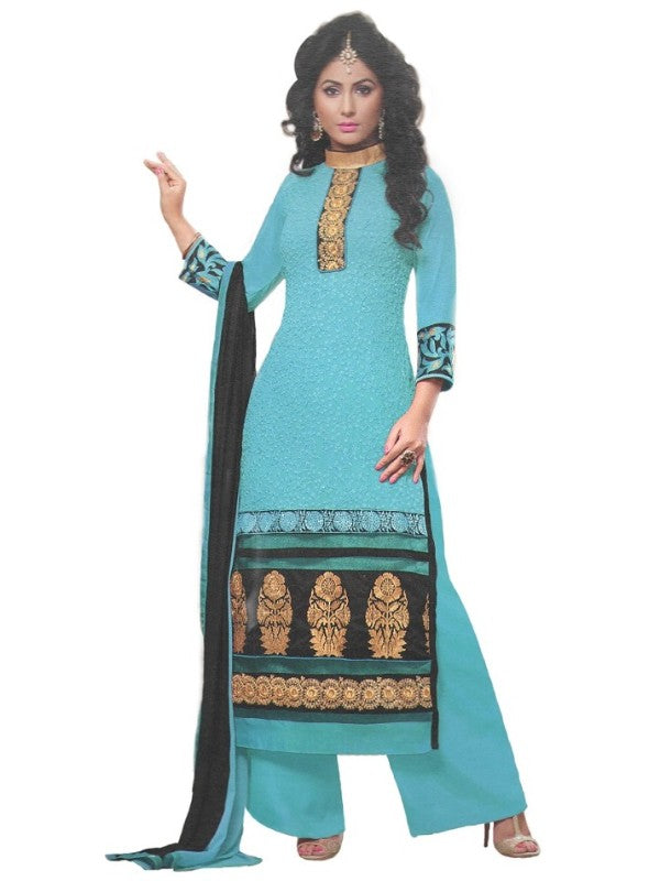 Blue Georgette Unstitched Dress Material For Women