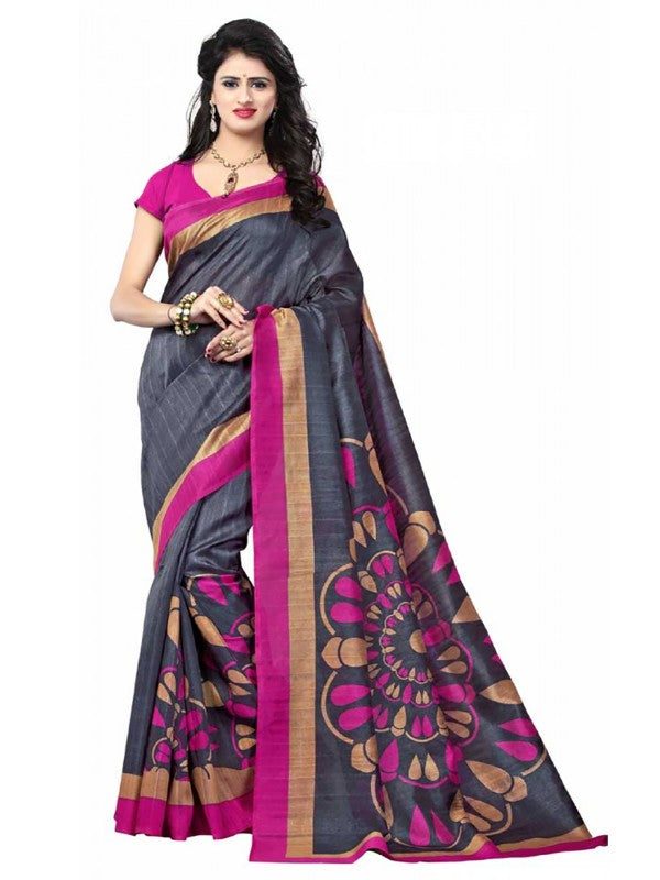Printed Bhagalpuri Art Silk Navy Blue with Multicolor Saree