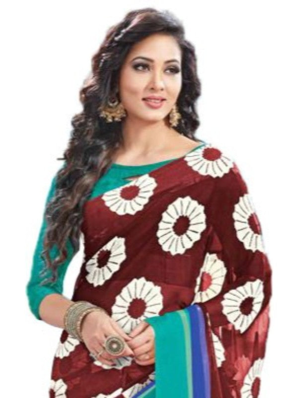 Georgette Digital Saree With Blouse-Brown