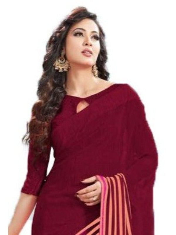 Georgette Digital Saree With Blouse-Maroon