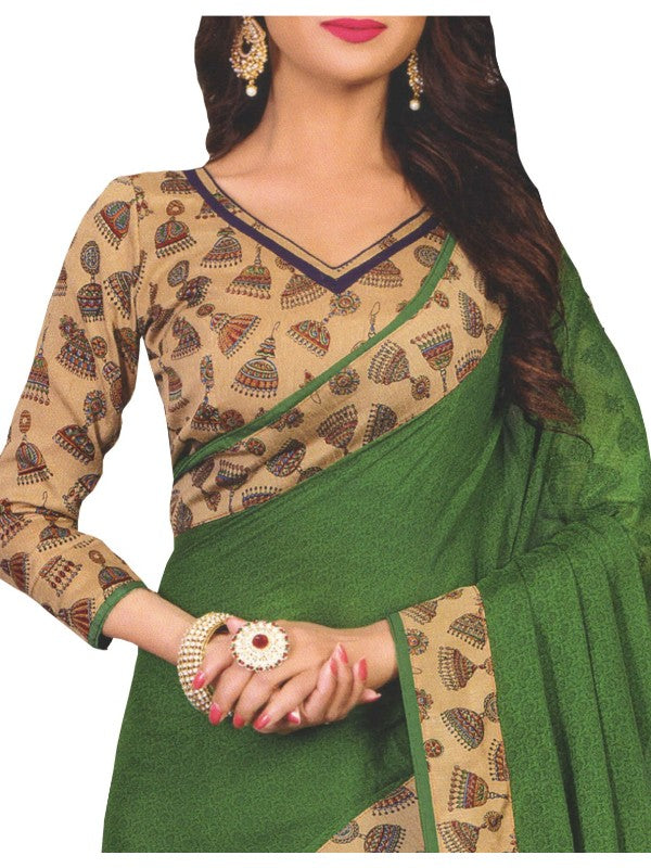 Designer Printed Saree With Blouse Dark Green Color