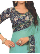 Designer Printed Saree With Blouse Sea Green Color