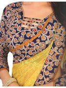 Designer Printed Saree With Blouse Yellow Color