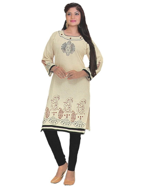 Cream Printed Round Neck Kurta For Womens