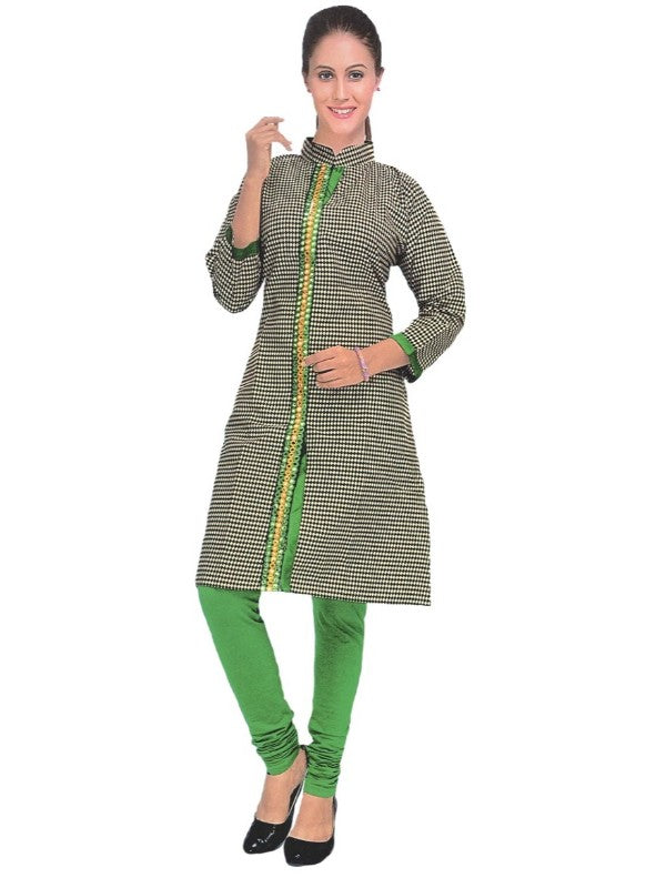 Women's Grey Printed Mirror Work Front Slit Kurti