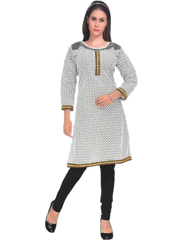 Women's White & Black Printed Mirror Work Kurti