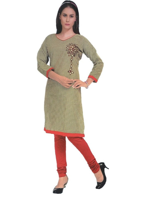 Women's Grey Printed Mirror Work Casual Kurti