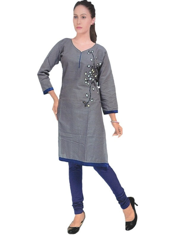 Women's Grey Solid Mirror Work Printed Kurti