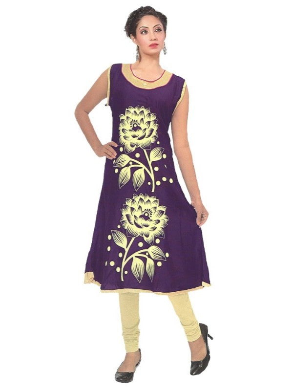 Women's  Purple Floral  Printed Anarkali Flared Kurti