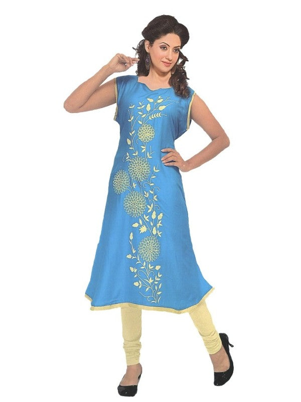 Blue Printed Anarkali Flared Kurti