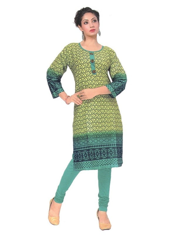 Women's  Printed Cotton Casual Knee Length Kurti