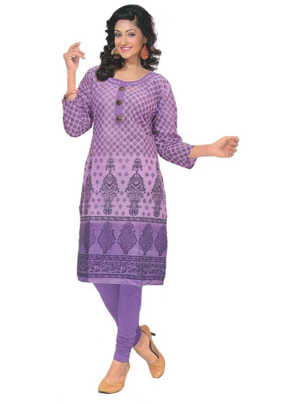 Women's  Printed Cotton Purple Straight  Kurta
