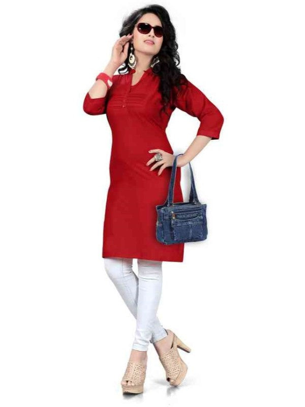 Women's Red Solid Thigh Length Kurta
