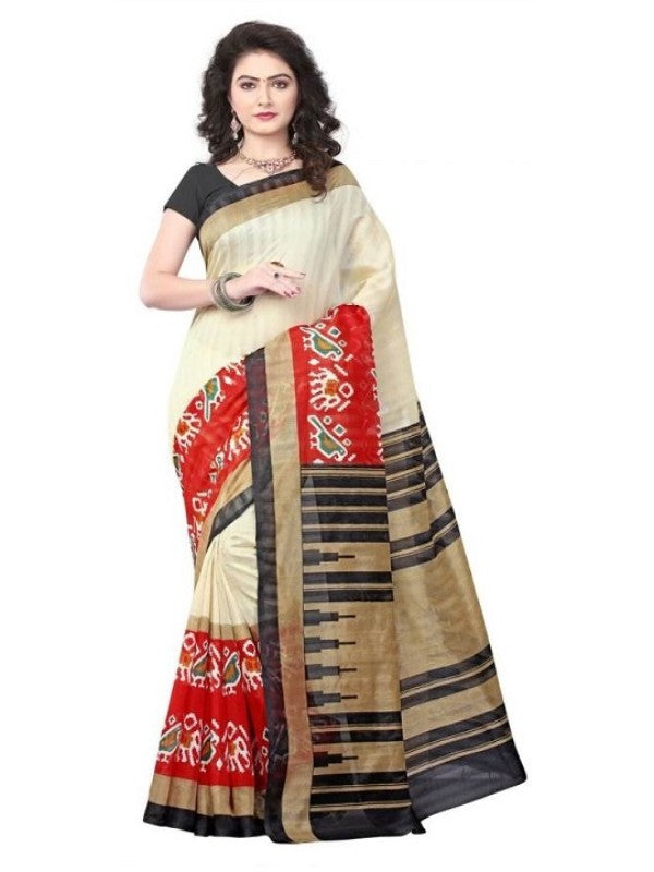 Multicolored Printed Bhagalpuri Art Silk Saree