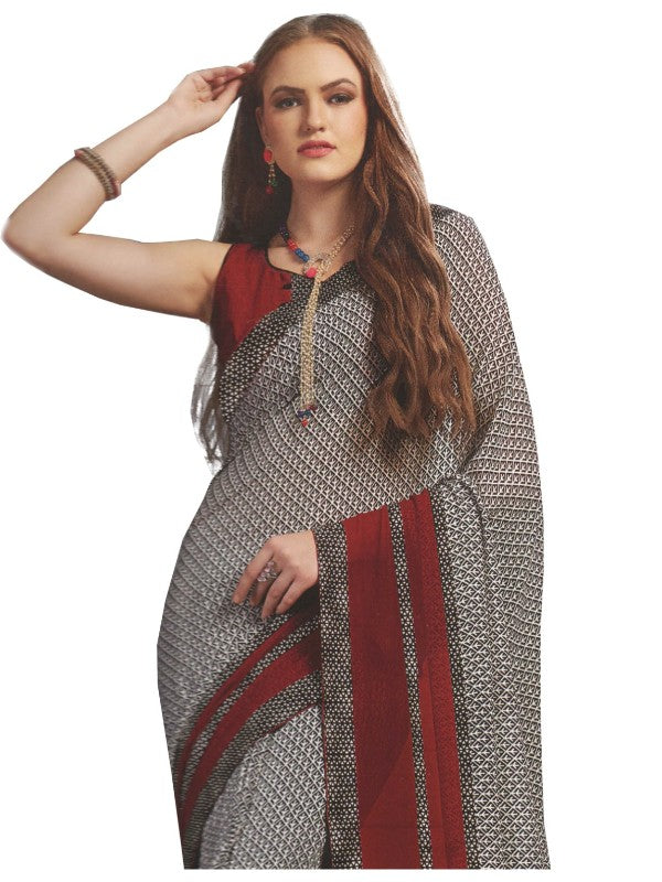 Georgette Digital Printed Saree With Blouse-Grey with Red Color Saree