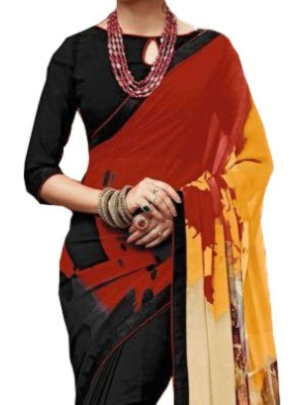 Georgette Digital Printed Saree With Blouse-Black with Red Color Saree