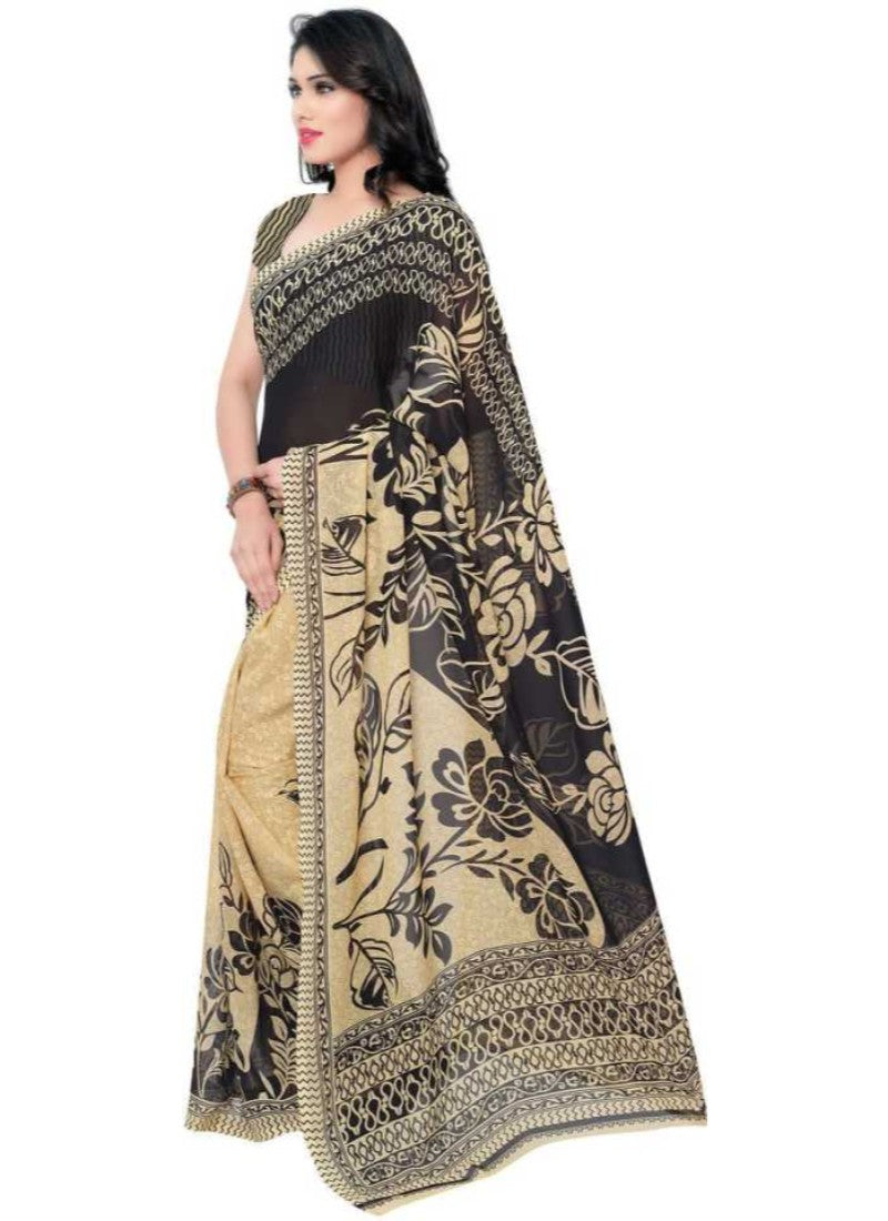Printed Faux Georgette Black Color Saree