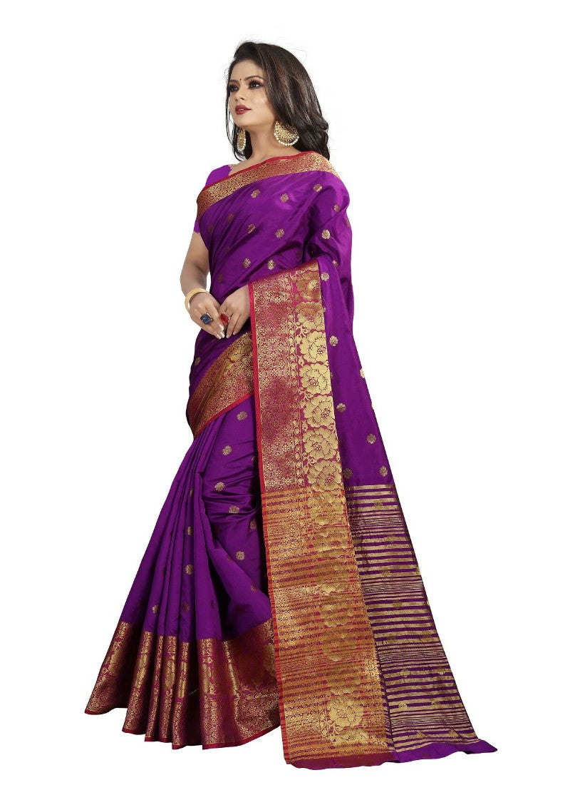 Purple Color Printed Cotton Silk Saree With Blouse