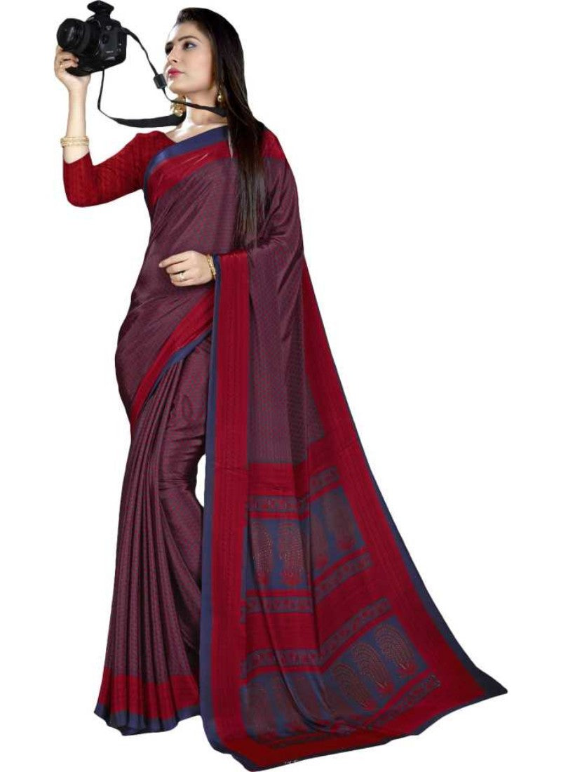 Red And Blue Color Printed Silk Crepe Saree With Blouse