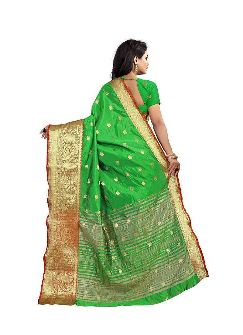 Parrot Green Color Weaving Cotton Silk Saree With Blouse