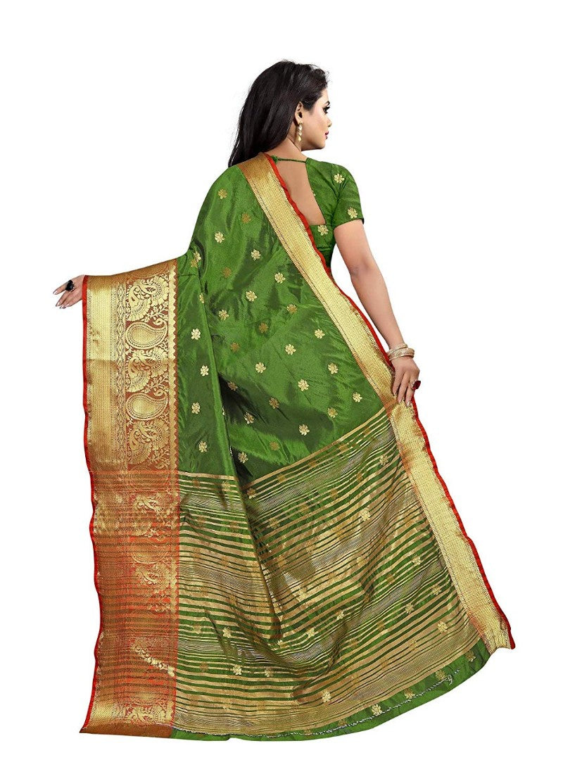 Green Color Weaving Cotton Silk Saree With Blouse