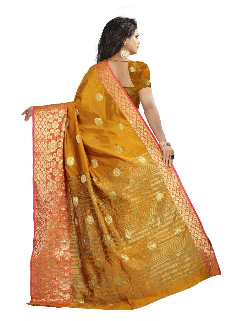 Gold Color Printed Cotton Silk Saree With Blouse
