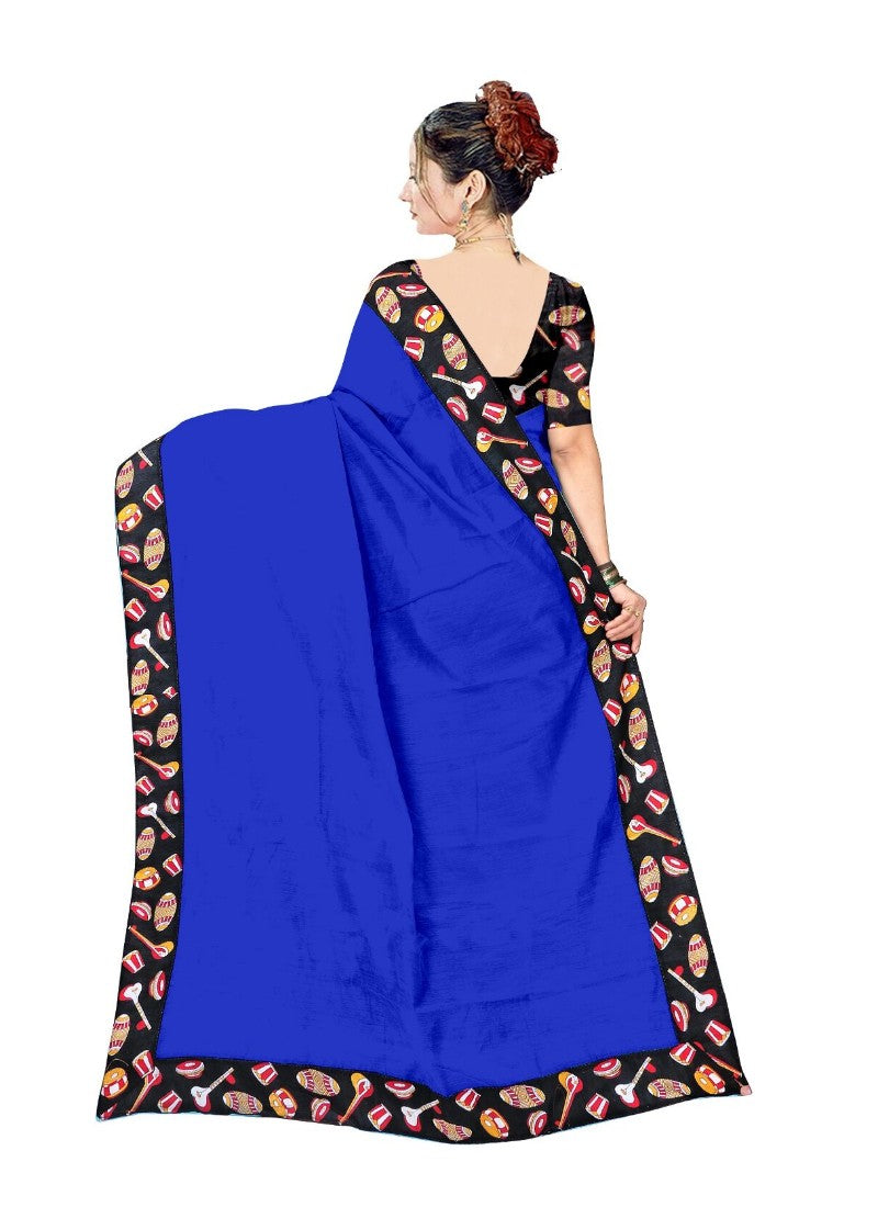 Blue Color Printed Chanderi Silk Saree With Blouse
