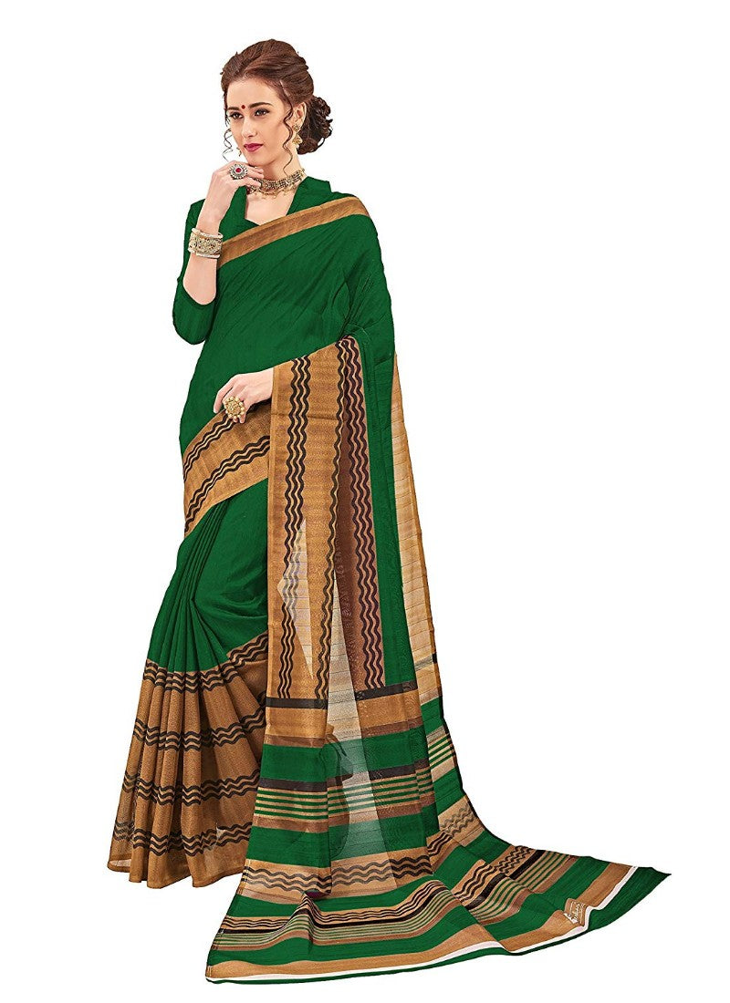 Green Color Printed Bhagalpuri Silk Saree With Blouse