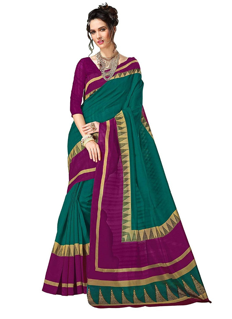 Green Color Printed Bhagalpuri Saree With Blouse