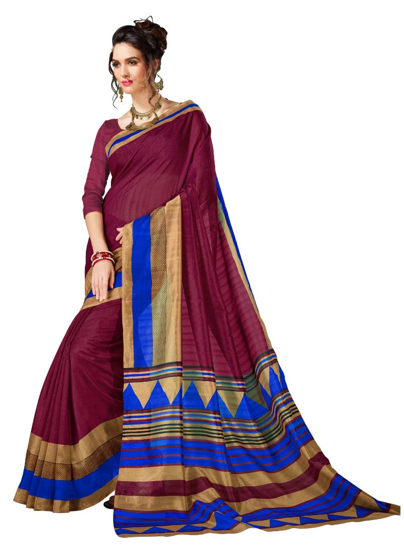 Red Color Printed Bhagalpuri Saree With Blouse